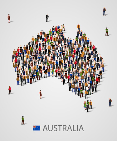Large group of people in form of Australia map. Background for presentation. Illustration