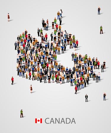 カナダのマップの形式で大人数。プレゼンテーションの背景。
