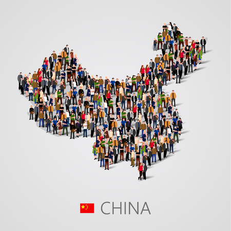 중국지도 양식에 사람들의 큰 그룹입니다. 중국 인구 통계 템플릿.