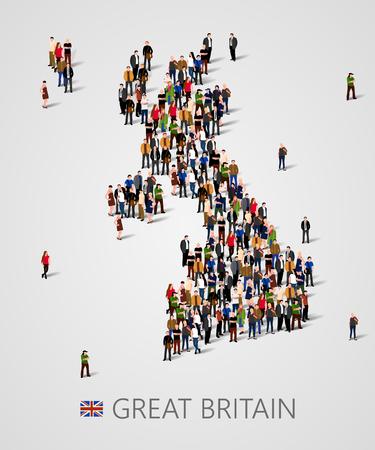 Grande gruppo di persone in forma di mappa della Gran Bretagna. Mappa del Regno Unito. Sfondo per la presentazione. Archivio Fotografico - 74887615