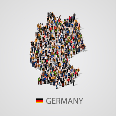 Large group of people in Germany map form. Background for presentation.
