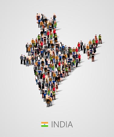 Grote groep mensen in de vorm van de kaart van India. Bevolking van India of demografiemalplaatje.