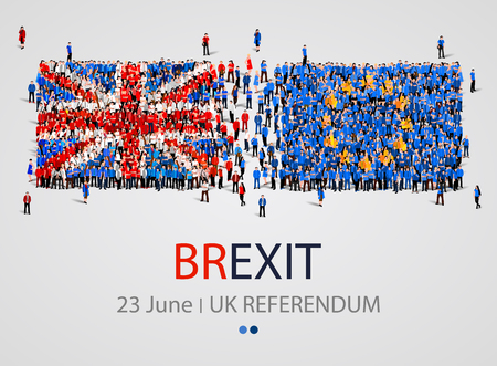 Crowd or group of people in form of British and Europe flags. United Kingdom European Union. Brexit. Illustration