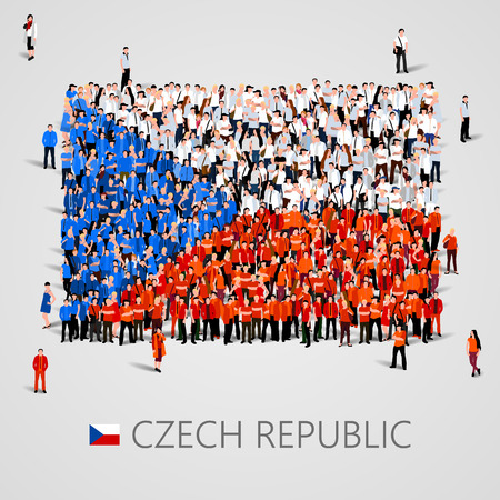 Large group of people in the shape of Czech flag. Czech Republic.