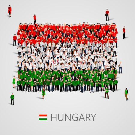 Large group of people in the shape of Hungary flag.
