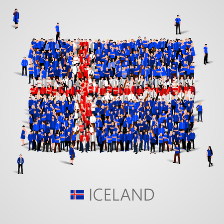 Large group of people in the shape of Iceland flag. Republic of Iceland. Illustration