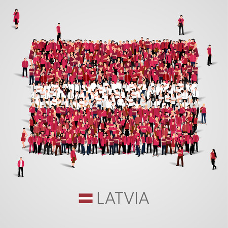 Large group of people in the shape of Latvian flag. Republic of Latvia.