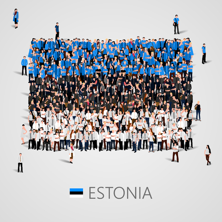 Large group of people in the shape of Estonian flag. Republic of Estonia. Illustration