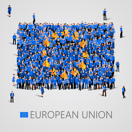 Large group of people in the shape of European union flag. Europe. Vectores