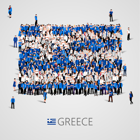social history: Large group of people in the shape of Greece flag. Hellenic Republic.