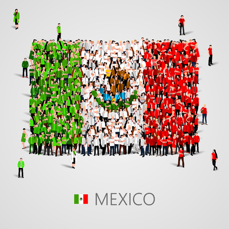 Large group of people in the shape of Mexican flag. United Mexican States. Mexico concept.