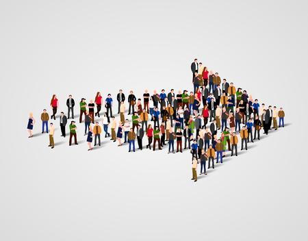 Duża grupa ludzi w zatłoczony symbol strzałki. Droga do sukcesu koncepcji.