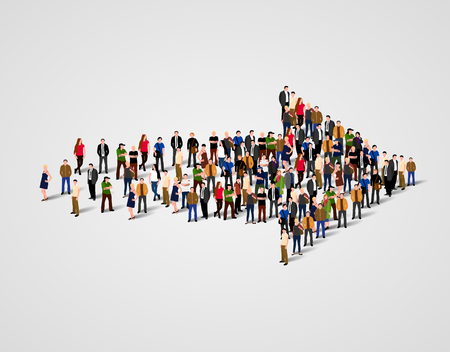 symbol people: Large group of people crowded in arrow symbol. Way to success business concept. Illustration