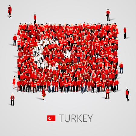 Grand groupe de personnes sous la forme du drapeau turc. République de Turquie.
