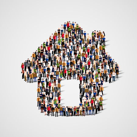 A group of people in a shape of house icon, isolated on white background.