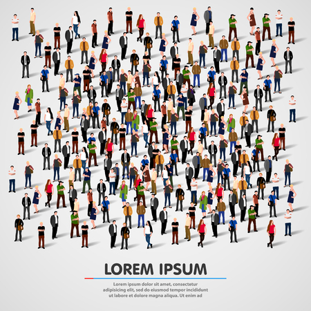 Large group of people crowded on white background.