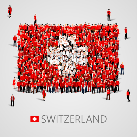 Large group of people in the shape of Swiss flag. Swiss Confederation. Switzerland concept.