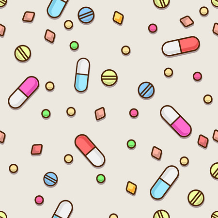 doctor tablet: Seamless pills pattern. Medical concept.