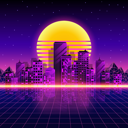 Retro neon city background. Neon style 80s. Vector illustration