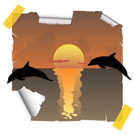 sundown: Dolphins at sunset Illustration
