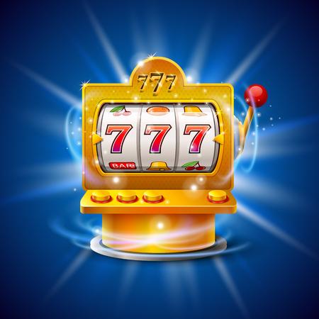 Gouden gokautomaat wint de jackpot. Geïsoleerd op blauwe achtergrond. Vector illustratie Vector Illustratie