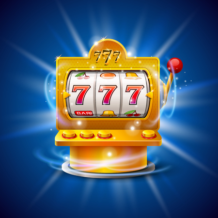 Golden slot machine wins the jackpot. Isolated on blue background. Vector illustration