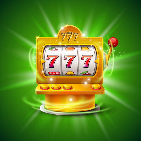 Golden slot machine wins the jackpot. Isolated on green background. Vector illustration