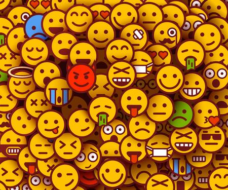 Yellow smiles background. Emoji texture.