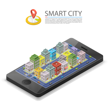 gps device: Smart city isometric, app device mark, object on a white background, Vector illustration