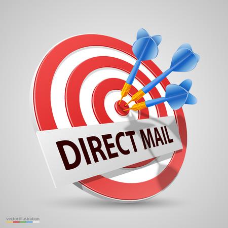 dart board: Direct mail target, Dart icon, Vector illustration