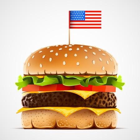 hamburguesa realista con lechuga de queso y tomate. Hamburguesa con bandera de EE.UU. como símbolo de comida americana.