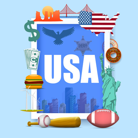 Collection of icons of the United States, America icons set, Usa collection sign, Vector illustration