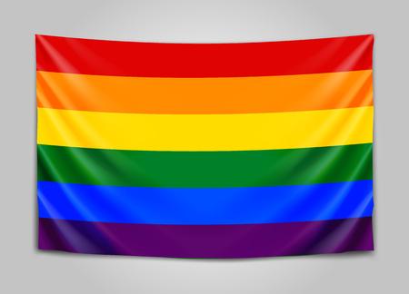 Hanging flag of lgbt. Tolerance concept.