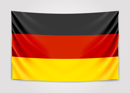 Hanging flag of Germany. Federal Republic of Germany. National flag concept. Illustration