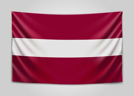Hanging flag of Latvia. Republic of Latvia. Latvian national flag concept.