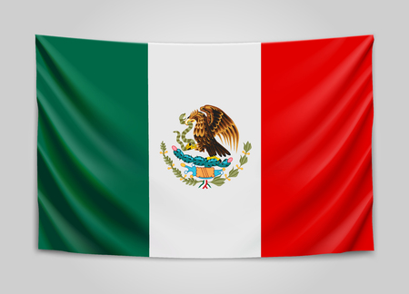 Hanging flag of Mexico. United Mexican States. National flag concept.