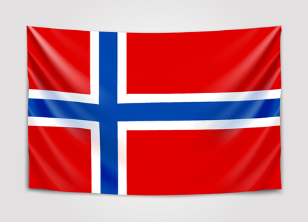 Hanging flag of Norway. Kingdom of Norway. National flag concept.