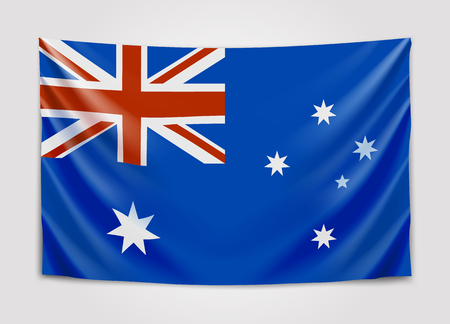 Hanging flag of Australia. Commonwealth of Australia. National flag concept.