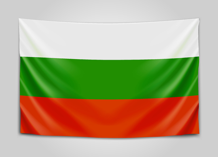 Hanging flag of Bulgaria. Republic of Bulgaria. National flag concept.