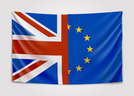 Hanging flag of the United Kingdom and the European Union. Brexit concept.