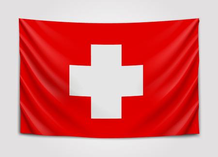Hanging flag of Switzerland. Swiss Confederation. National flag concept. Illustration
