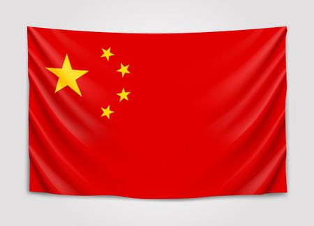 Hanging flag of China. People Republic of China. National flag concept.