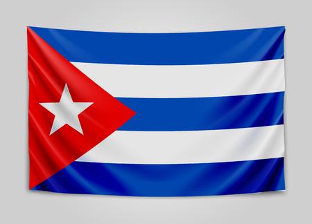 Hanging flag of Cuba. Republic of Cuba. Cuban national flag concept. Vector illustration. Illustration