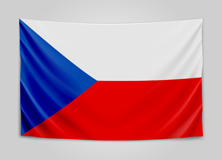 europe closeup: Hanging flag of Czech. Czech Republic. National flag concept. Vector illustration.