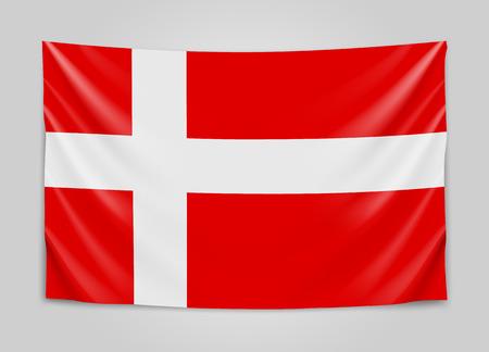Hanging flag of Denmark. Kingdom of Denmark. National flag concept. Vector illustration. Illustration