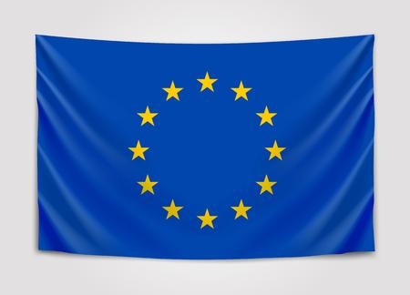 Hanging flag of Europe. European Union. European flag concept. Illustration