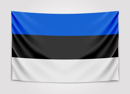 europe closeup: Hanging flag of Estonia. Republic of Estonia. National flag concept.