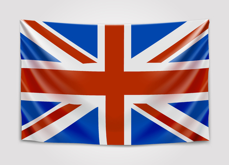 northern ireland: Hanging flag of Great Britain. United Kingdom of Great Britain and Northern Ireland. British national flag concept.