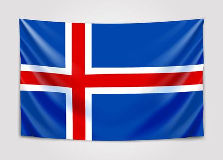 Hanging flag of Iceland. Kingdom of Iceland. National flag concept.