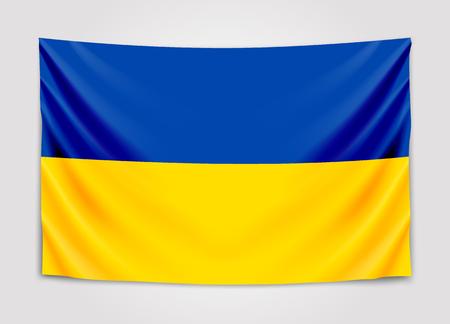 Hanging flag of Ukraine. Ukraine. National flag concept.